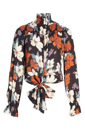 NICHOLAS Floral Print Smocked Tie Waist Silk Top | Nordstrom