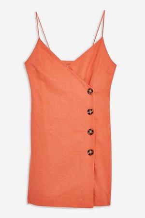 Linen Blend Button Mini Slip Dress | Topshop orange