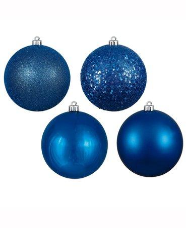 "Vickerman 32-Piece Set of 3"" Blue Ball Christmas Ornaments"