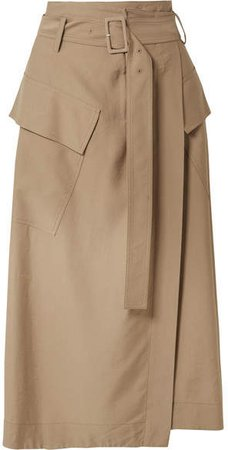 Belted Twill Wrap Skirt - Tan