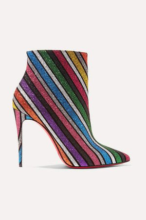 So Kate 100 Striped Glittered Leather Ankle Boots - Metallic