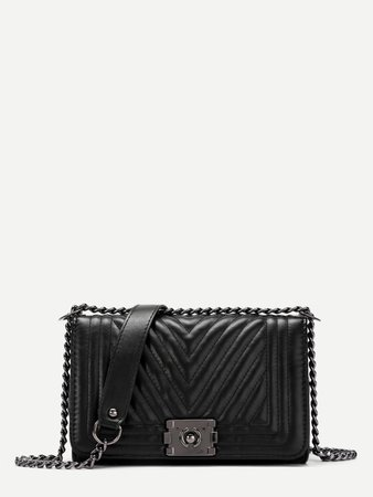 Chevron Stitch PU Chain Crossbody Bag