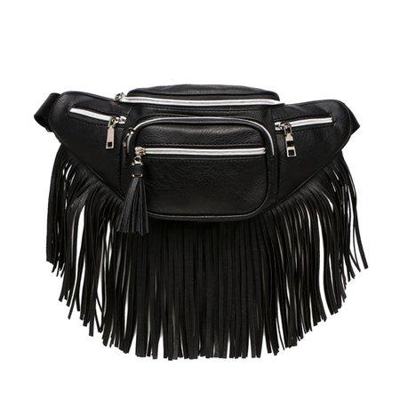 Bags | Black Vegan Leather Fanny Pack With Long Fringe | Poshmark