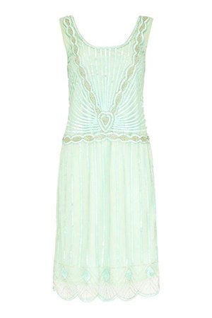 Charleston Vintage Inspired Flapper Dress in Mint (US14 EU46) at Amazon Women's Clothing store: