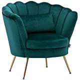 INMOZATA Accent Chair Velvet Fabric Upholstered Modern Occasional Tub Chair Shell Scallop Edge Armchair for Contemporary Living Room Bedroom (Turquoise Green): Amazon.co.uk: Kitchen & Home