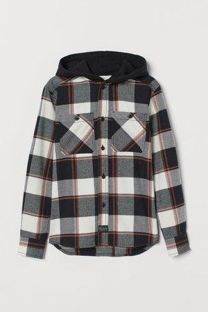 Hooded Flannel Shirt - Beige