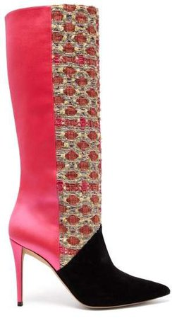 Matty Bovan - X Gina Knee High Tweed And Satin Boots - Womens - Pink Multi
