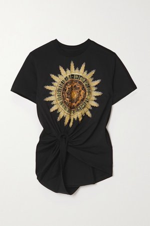 Knotted Printed Cotton-jersey T-shirt - Black