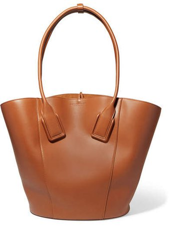 Basket Leather Tote - Brown