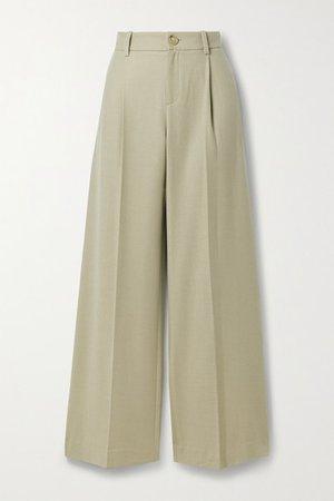 Pleated Flannel Wide-leg Pants - Beige