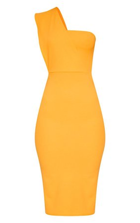 Yellow One Shoulder Draped Midi Dress | PrettyLittleThing USA