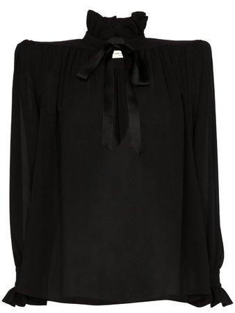 Saint Laurent structured-shoulder Silk Blouse - Farfetch