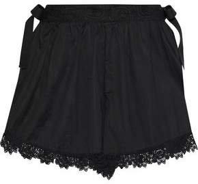 Lace-trimmed Cotton-voile Shorts