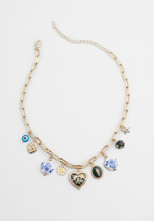 Quite the Collection Charm Necklace in Gold/Multi | ModCloth