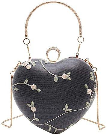 Van Caro Vintage Heart Shape Evening Bag Clutch Handbag Crossbody Shoulder Purse, Matcha Green: Handbags: Amazon.com