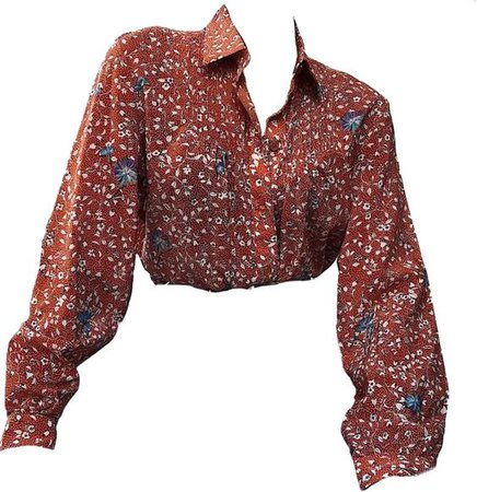 red vintage flower blouse