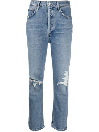AGOLDE Ripped high-rise Cropped Jeans - Farfetch