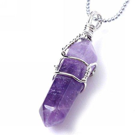 Amethyst Hexagonal Natural Quartz Stone Pendant Healing Crystal Necklace for Women