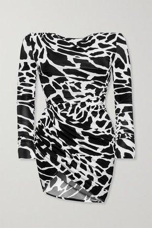 Ruched Printed Stretch-jersey Mini Dress - Black