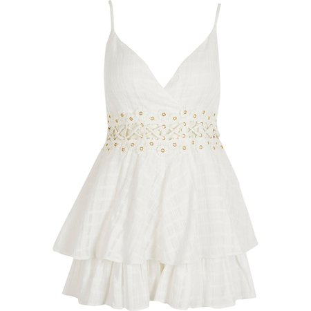 White eyelet lace-up frill beach playsuit | River Island