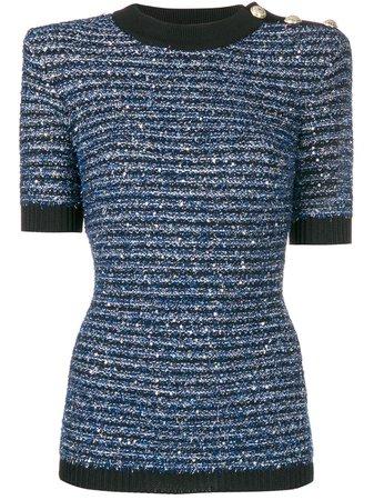 Balmain Striped Tweed Knit Top | Farfetch.com