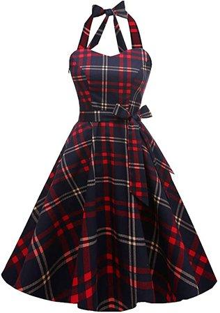 Amazon.com: Topdress Women'sVintage Polka Audrey Dress 1950s Halter Retro Cocktail Dress Red Plaid 3XL: Clothing
