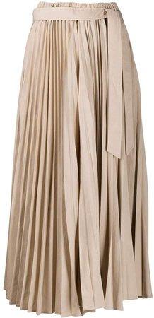 pleated tie-waist midi skirt