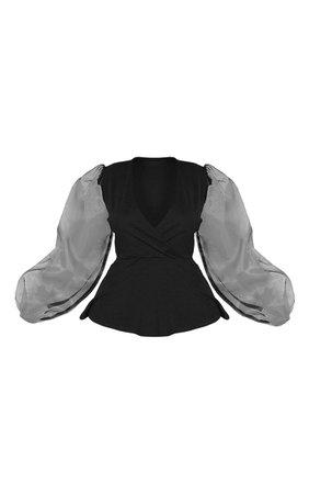 Plus Black Organza Sleeve Peplum Top | PrettyLittleThing