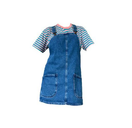 denim overall dress with striped t shirt