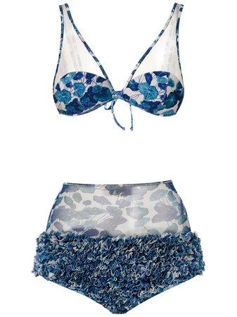 Adriana Degreas High Waisted Ruffle Bikini Set - Farfetch
