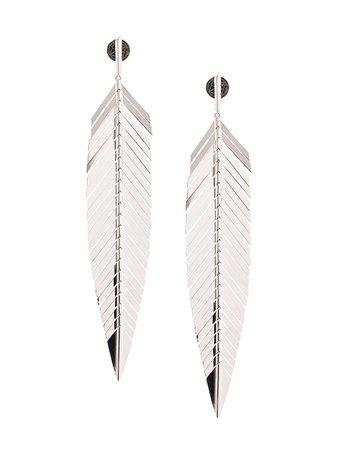 Silver Cadar 18kt White Gold Large Feather Drop Earrings   Farfetch.com
