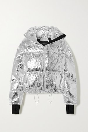 Mont Blanc Metallic Quilted Down Ski Jacket - Silver