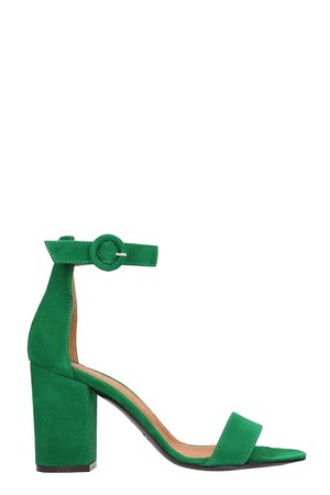 Via Roma 15 Green Suede Sandals