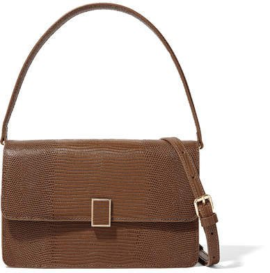 Katalina Lizard-effect Leather Tote - Camel
