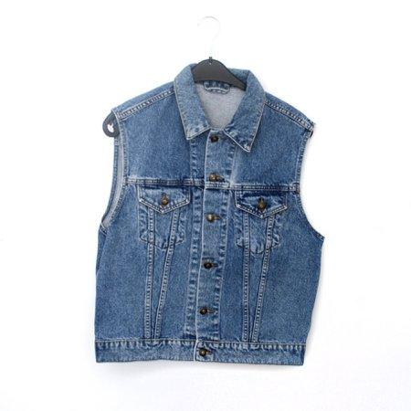 image 0 image 1 image 2 image 3 image 4 S - vintage sleeveless denim jacket - blue denim vest 80s 90s - 1980s 1990s trucker style waistcoat vest 2 pocket festival coat - 36 small