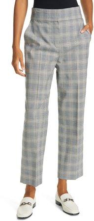 Windowpane Plaid Ankle Trousers