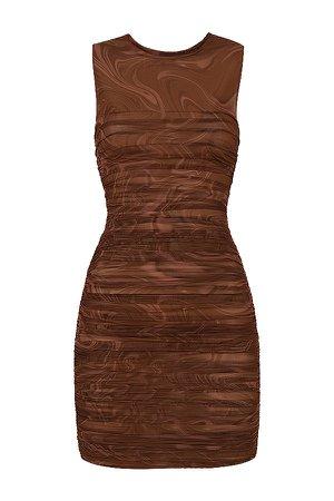 Clothing : Mini Dresses : 'Elodie' Cocoa Swirl Gathered Beach Dress
