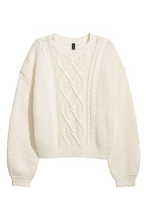 Textured-knit Sweater | White | DIVIDED | H&M US