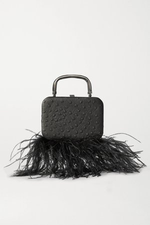 Black Ralphie feather-trimmed ostrich-effect leather tote | 16ARLINGTON | NET-A-PORTER