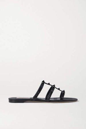 Garavani Rockstud Leather Sandals - Black