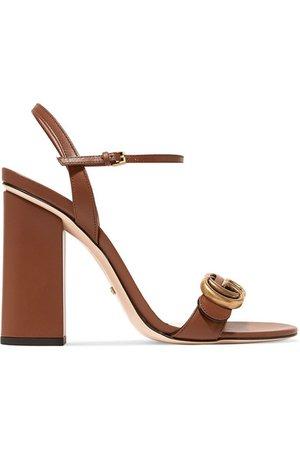 Gucci | Marmont logo-embellished leather sandals | NET-A-PORTER.COM