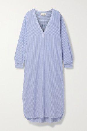 Raven Striped Cotton-voile Midi Dress - Blue