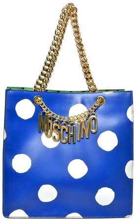 Logo Dot Leather Tote
