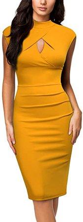 Miusol Women's Business Slim Style Ruffle Work Pencil Dress, Small, A-Yellow