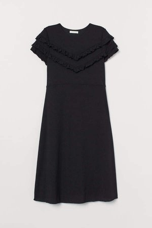 MAMA Ruffle-trimmed Dress - Black