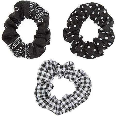 Amazon.com: Claire's Girl's Bandana Print Mix Hair Scrunchies - Black, 3 Pack: Claire's: Jewelry