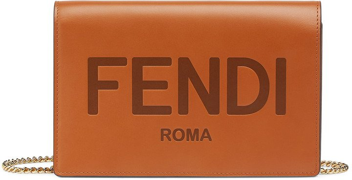 Medium Logo Embossed Leather Wallet on a Chain