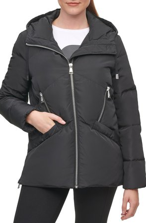 Water Resistant Hooded Down & Feather Puffer Jacket