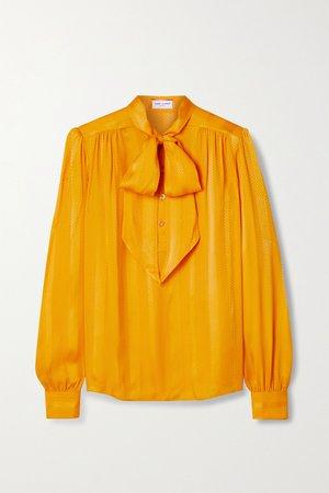 Saffron Pussy-bow silk-jacquard blouse | SAINT LAURENT | NET-A-PORTER