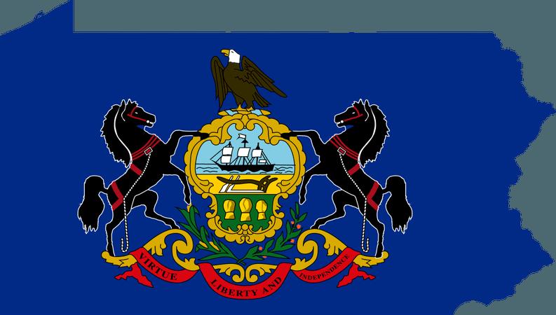 pennsylvania flag map